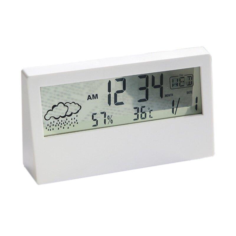 鬧鐘 電子鬧鐘 溫濕度計 溫度計 溼度計 濕度計 貪睡鬧鐘 天氣顯示器 靜音時鐘 靜音鬧鐘 懶人鬧鐘 時鐘 室內溫度計 溫度濕度計 透視 透明 多功能 北歐簡約電子鐘MYCOLOR【Q246】