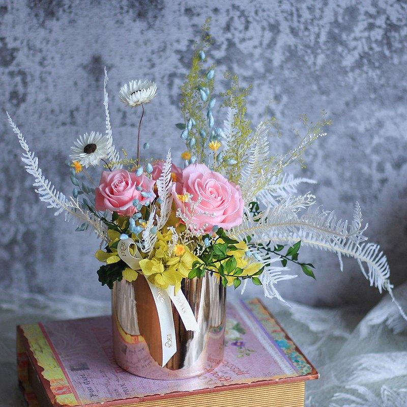 【一人成團】永生花桌花擺飾 不凋花盆花 手作課程 台中 乾燥花