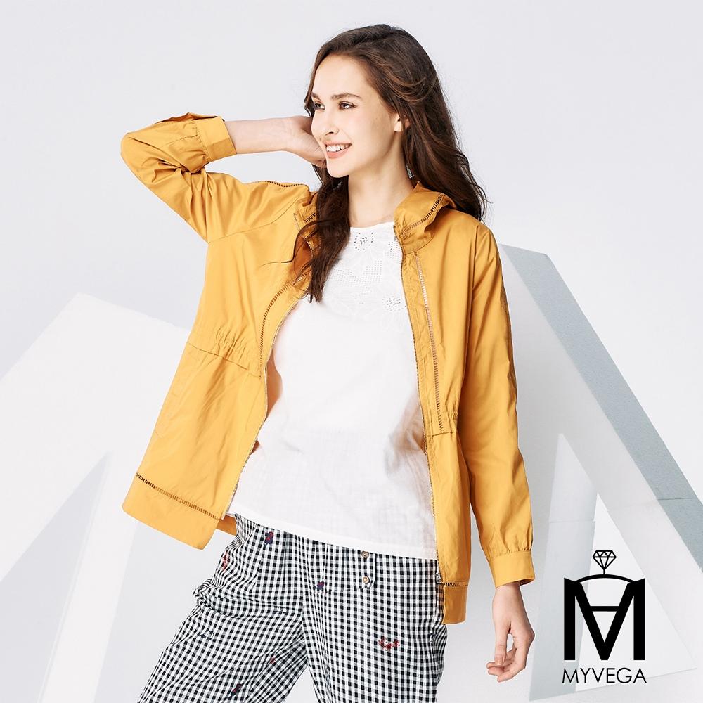 【麥雪爾】MA鏤空收腰連帽風衣外套-黃