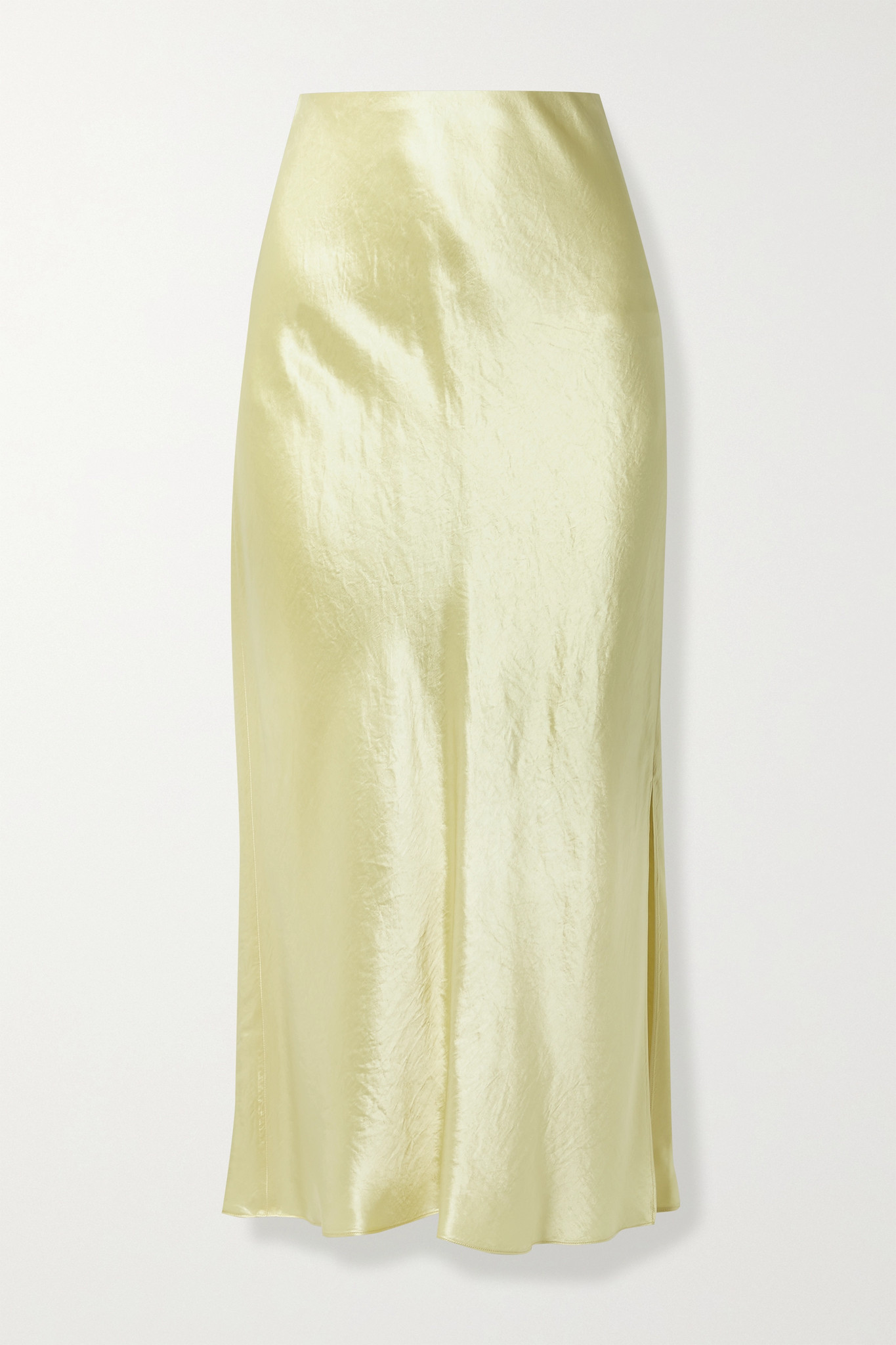 VINCE - Hammered-satin Midi Skirt - Yellow - large