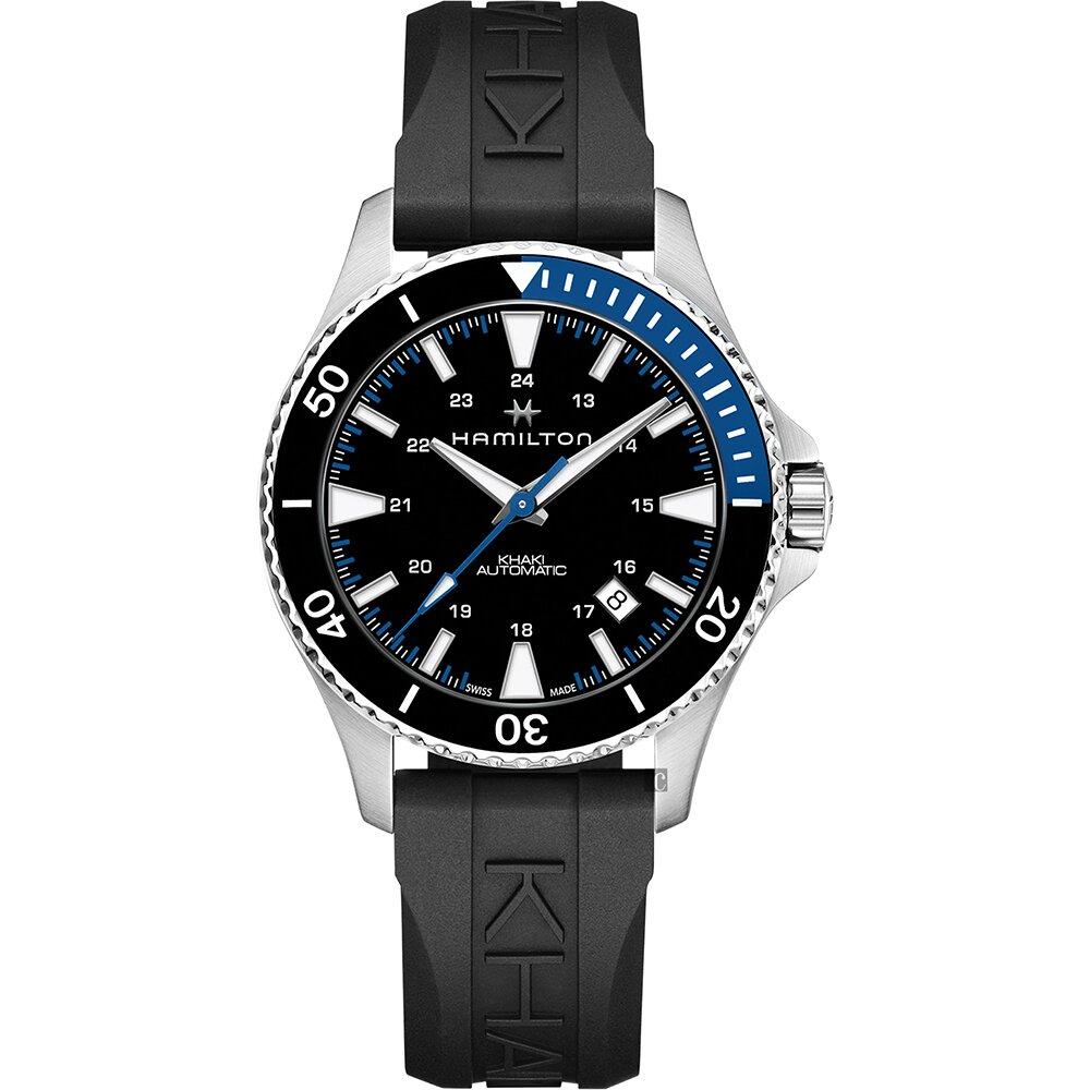 Hamilton 漢米爾頓 卡其海軍機械錶-黑膠帶/40mm(H82315331)