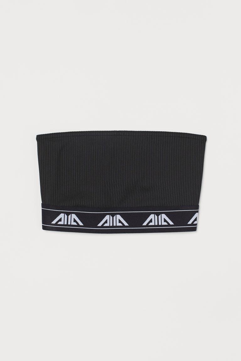 H & M - 短版平口上衣 - 黑色