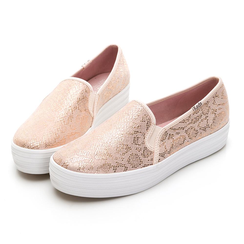 TRIPLE DECKER 奢華蛇紋皮革休閒便鞋-玫瑰粉