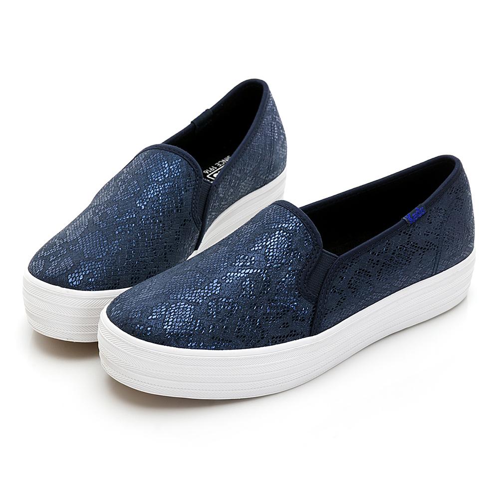 TRIPLE DECKER 奢華蛇紋皮革休閒便鞋-深藍