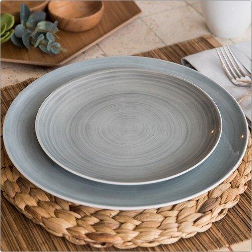 《CreativeTops》湖水紋暈染淺餐盤(墨灰21cm)