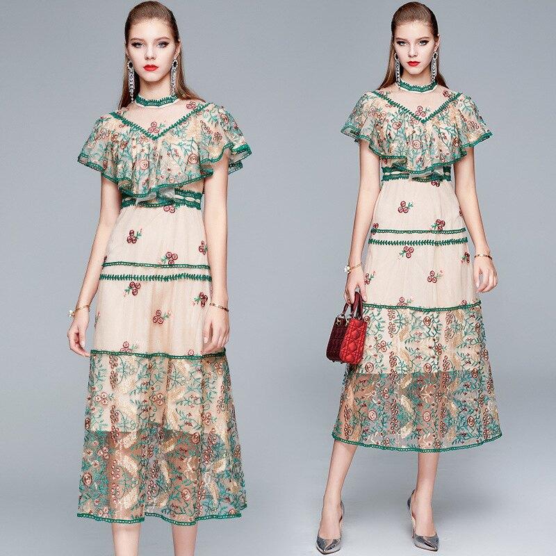 洋裝短袖連身裙-刺繡網紗拼接荷葉邊女裙子74ae36【獨家進口】【米蘭精品】