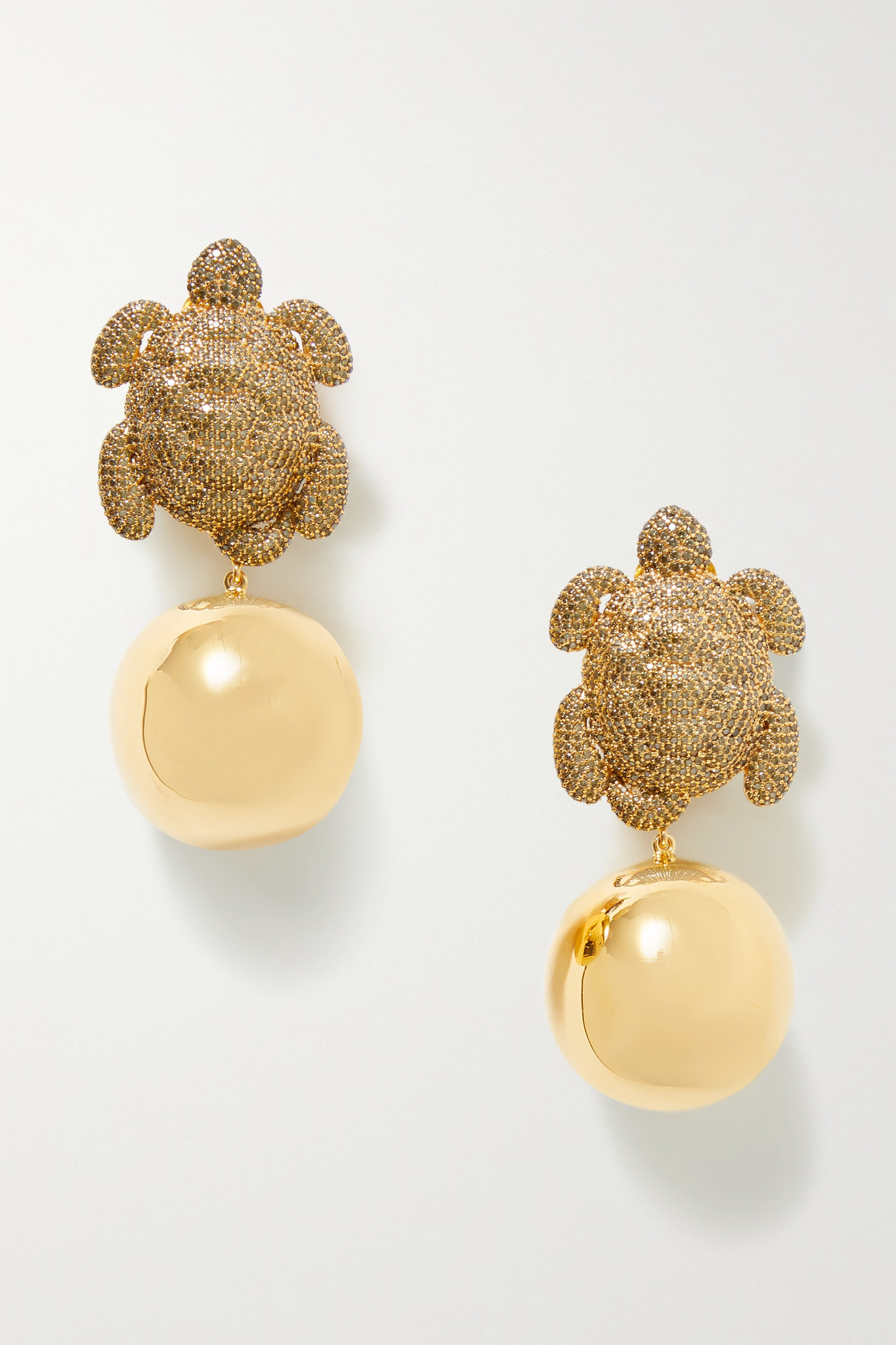 BEGÜM KHAN - Caretta Party Gold-plated Crystal Clip Earrings - one size