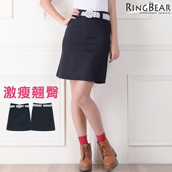 裙子--氣質滿分歐風黑色素面激瘦翹臀斜口袋附串珠編織皮帶中腰及膝裙(黑S-6L)-Q16眼圈熊中大尺碼