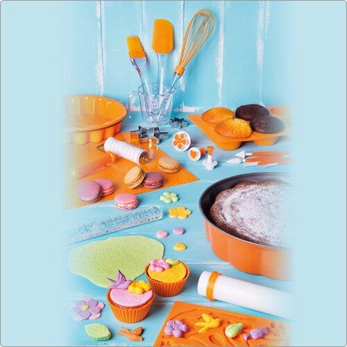 《EXCELSA》Sweet 3in1六格矽膠薩瓦蘭烤盤(橘)