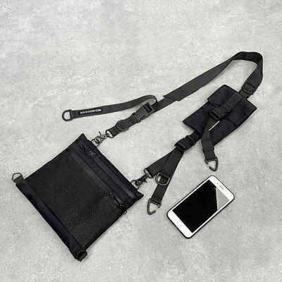 胸包 斜挎包輕量便攜尼龍布單肩包嘻哈國潮男工裝機能手機包ins胸包女  【HZL15】