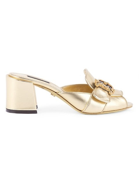 D & G Girls Metallic Leather Mules