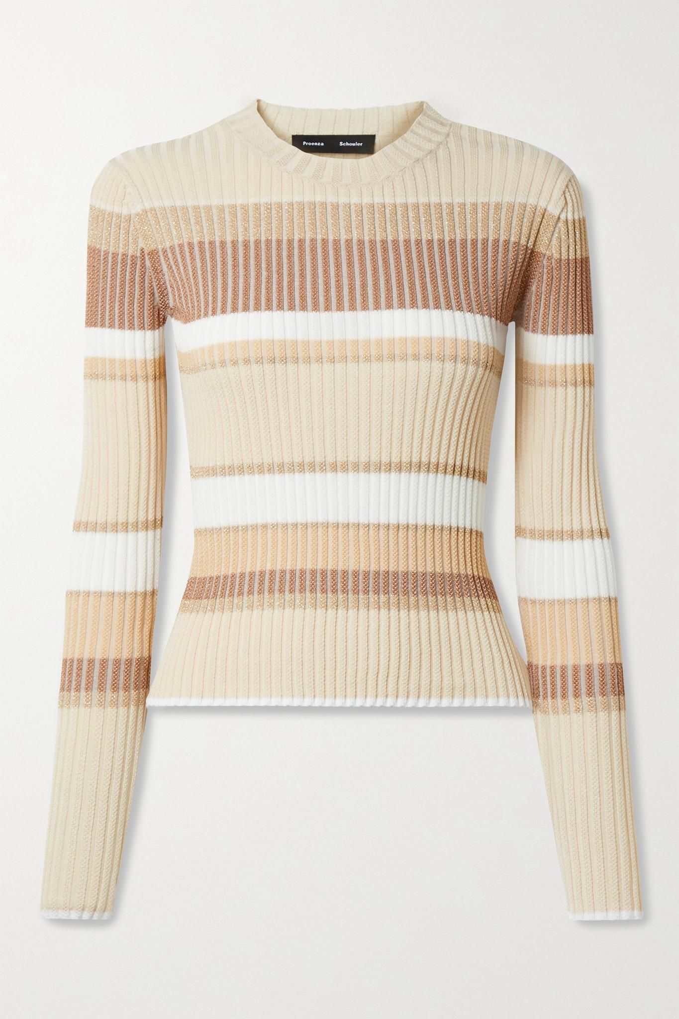 PROENZA SCHOULER - Metallic Striped Ribbed-knit Sweater - Neutrals - small