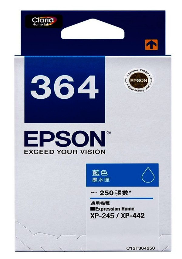t364250 epson (no.364) 原廠藍色墨水匣 xpression home xp-2