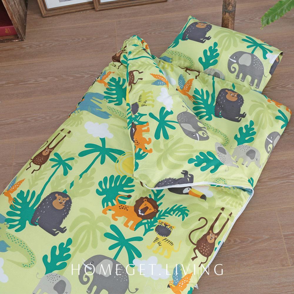兒童睡袋 / 絲棉柔睡袋 4.5X5尺 / 冬夏兩用書包型兒童睡袋 / 熱帶雨林