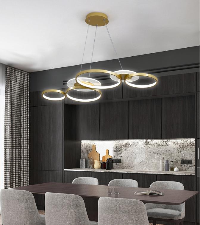 燈 燈具 無極調光 吊燈環形 書房燈 造型燈 大氣創意個性客廳燈 北歐藝術圓形led餐廳燈具110v