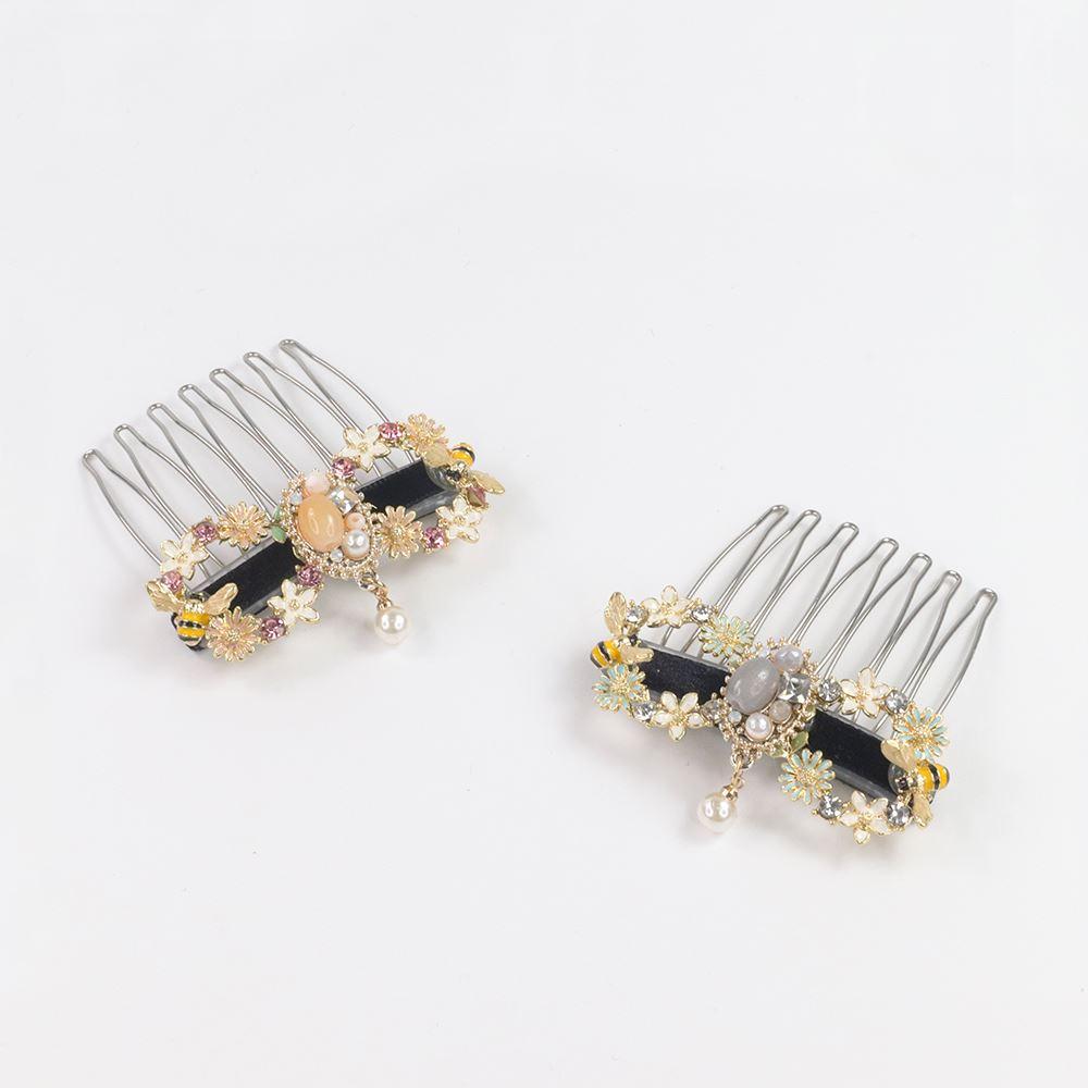 [台灣手工商品]蜜蜂花圈垂墜珍珠短髮叉 2色 CC20320