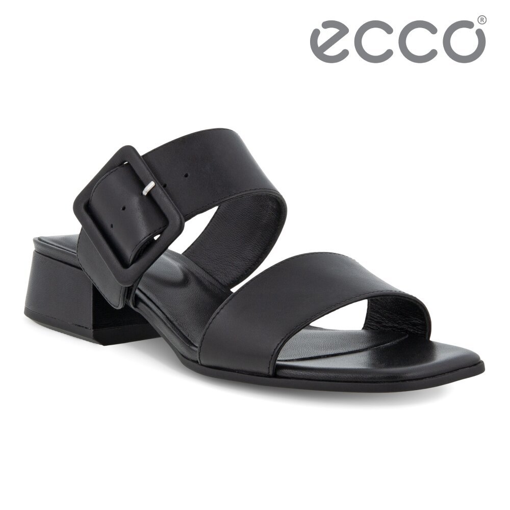ECCO ELEVATE SQUARED SANDAL 塑雅方頭摩登粗跟涼鞋 女鞋(黑色 29131301001)
