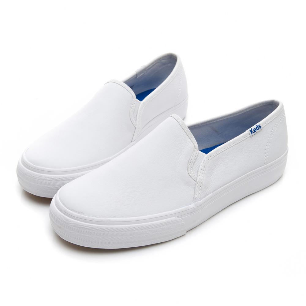 經典真皮舒適休閒便鞋-白