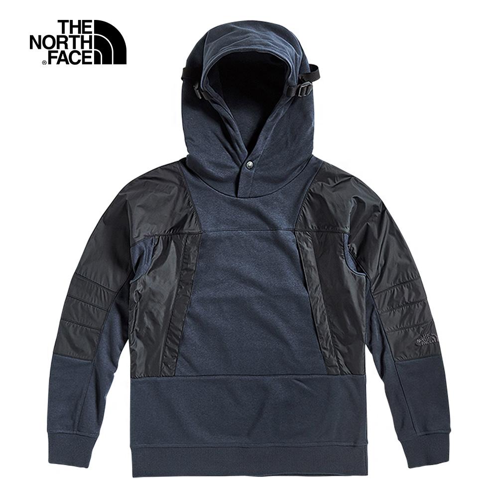 The North Face北面UE男款深藍色拼接撞色連帽上衣|49CIH2G