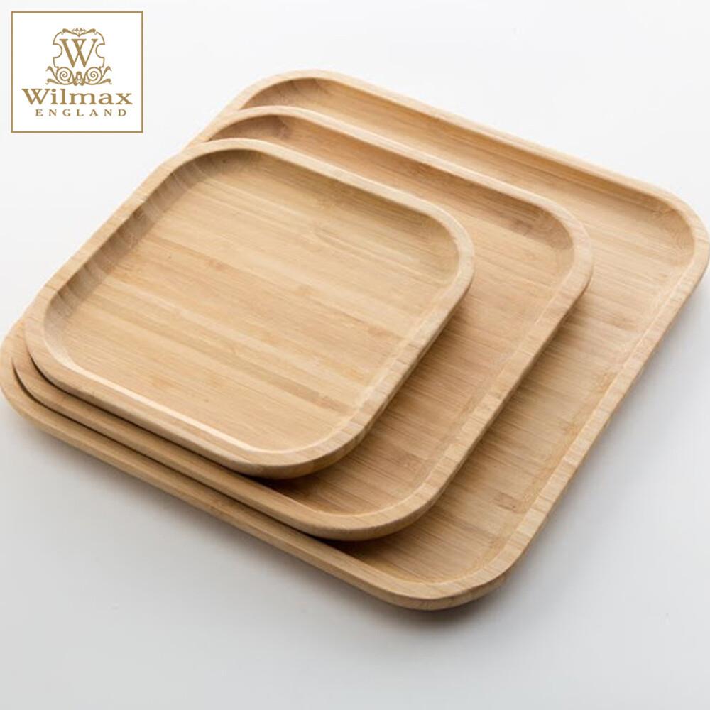 英國 wilmax竹製方形托盤/輕食盤超值3入組