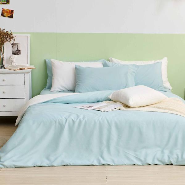床包被套組(鋪棉兩用被套)-雙人 / 舒柔棉四件式 / 薄荷綠床包+白綠被套 台灣製