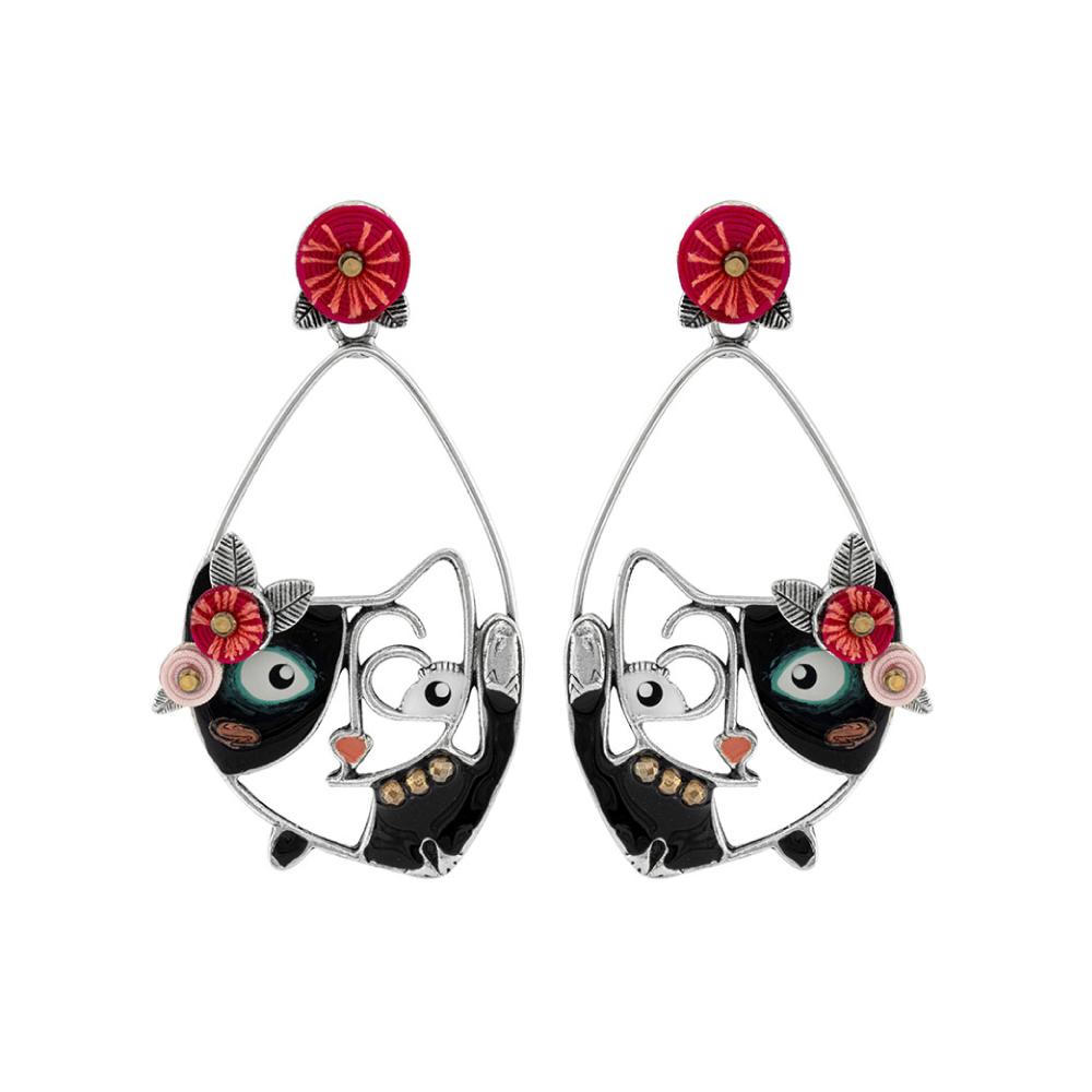 【伸展台上的貓】慵懶時尚貓咪耳環-針式
