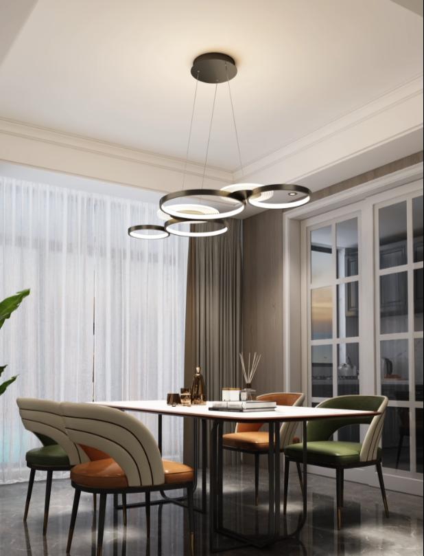 燈 燈具 三色變光 後現代簡約 吊燈環形 大氣創意個性客廳燈 北歐燈 藝術圓形led燈具 餐廳燈