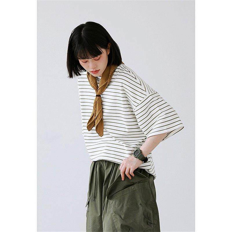 白色 3色 質感純棉細條紋落肩T恤 柔軟中性短袖寬鬆上衣 M-2XL