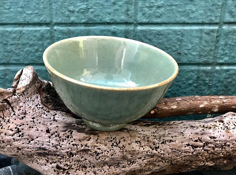 青玉陶碗 青瓷釉還原燒法 餐碗 餐具 湯碗手工茶杯 茶碗 品茗杯
