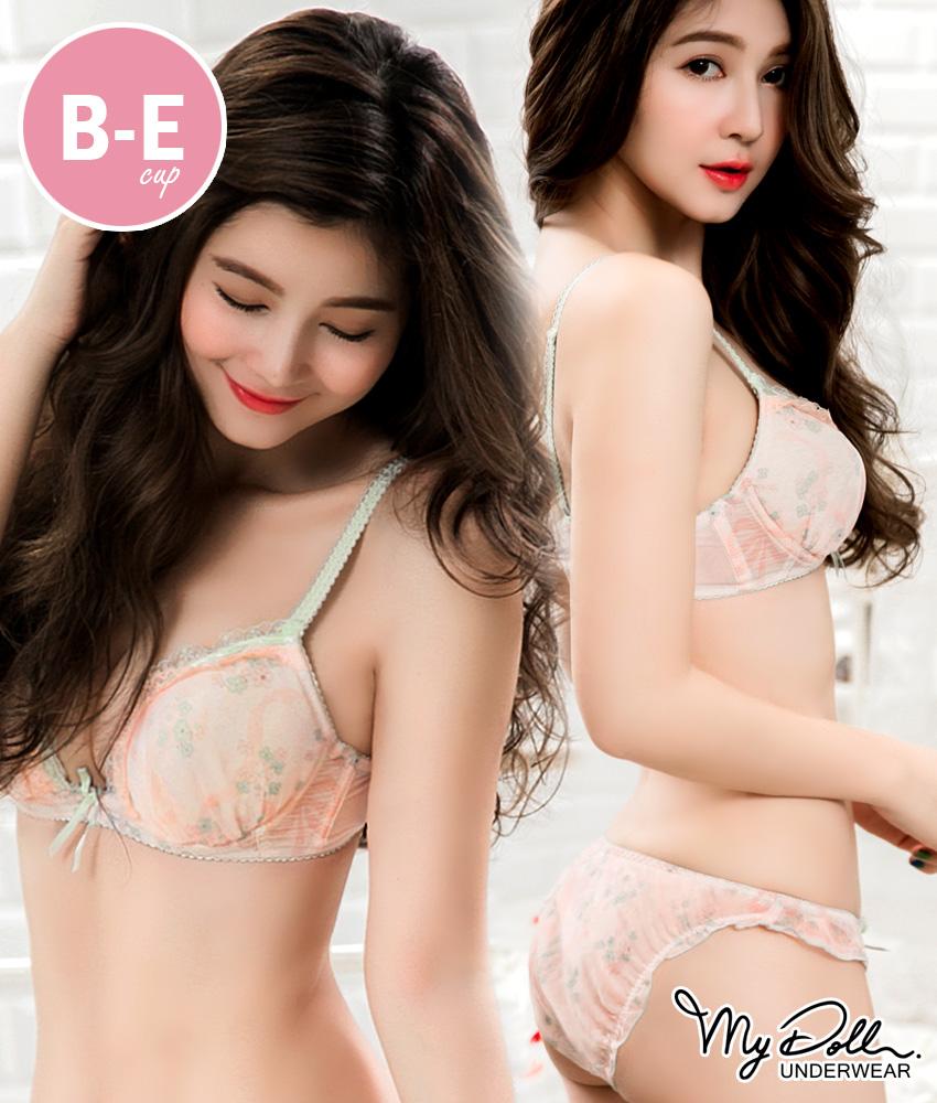 B-E罩杯 單內衣【花絮莊園】日系雪紡蕾絲內衣(粉色)  MyDoll