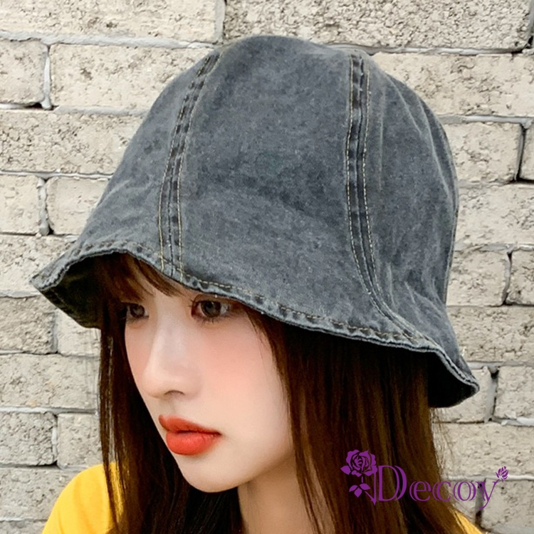 【Decoy】刷舊牛仔*日韓防曬遮陽小圓盆帽/黑