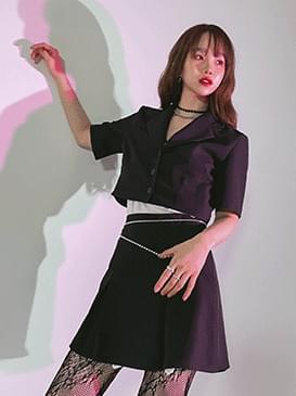 韓國空運 - Slow crop jacket & skirt 套裝