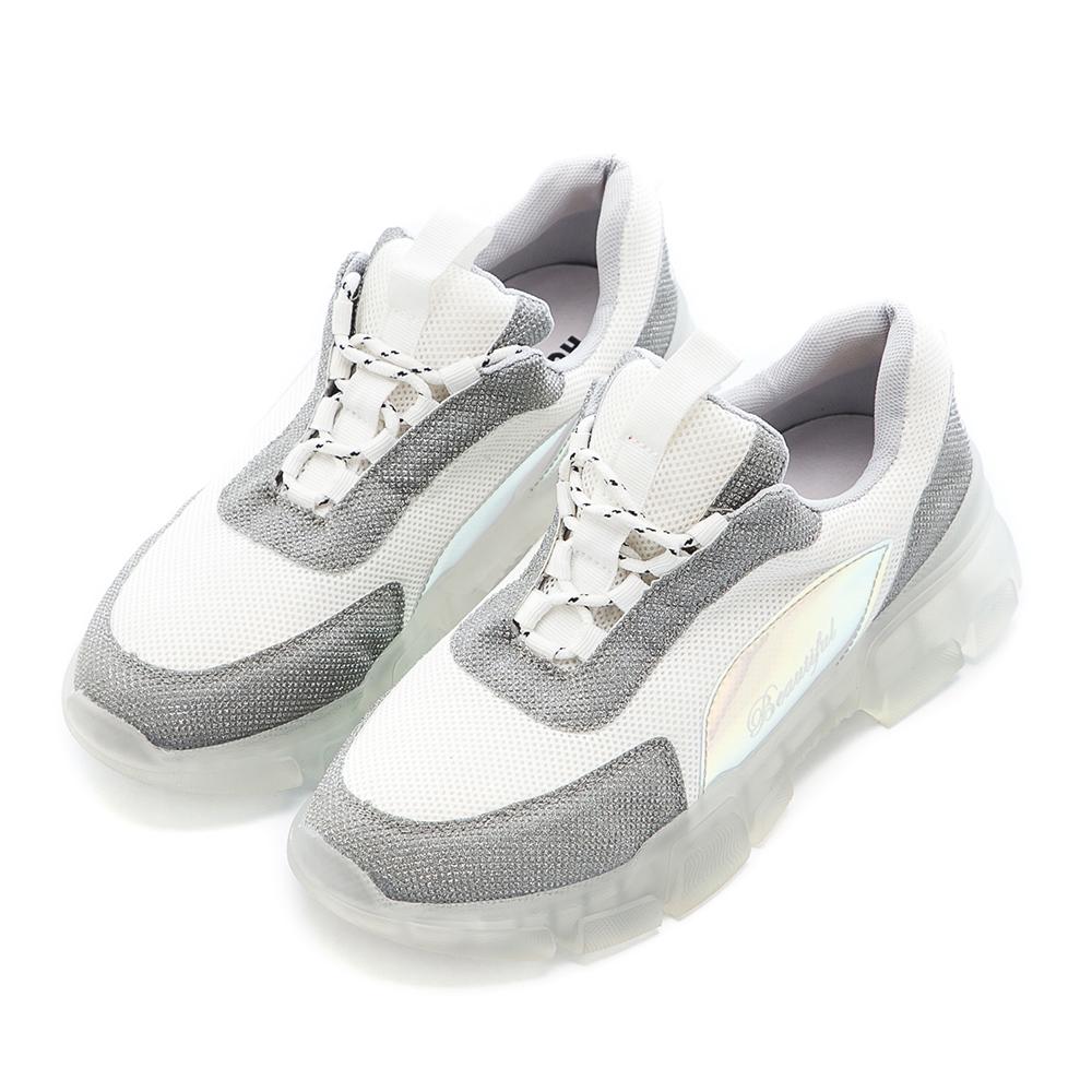 【零碼撈便宜】Hong Wa 復古拼接布面綁帶老爹鞋 - 白