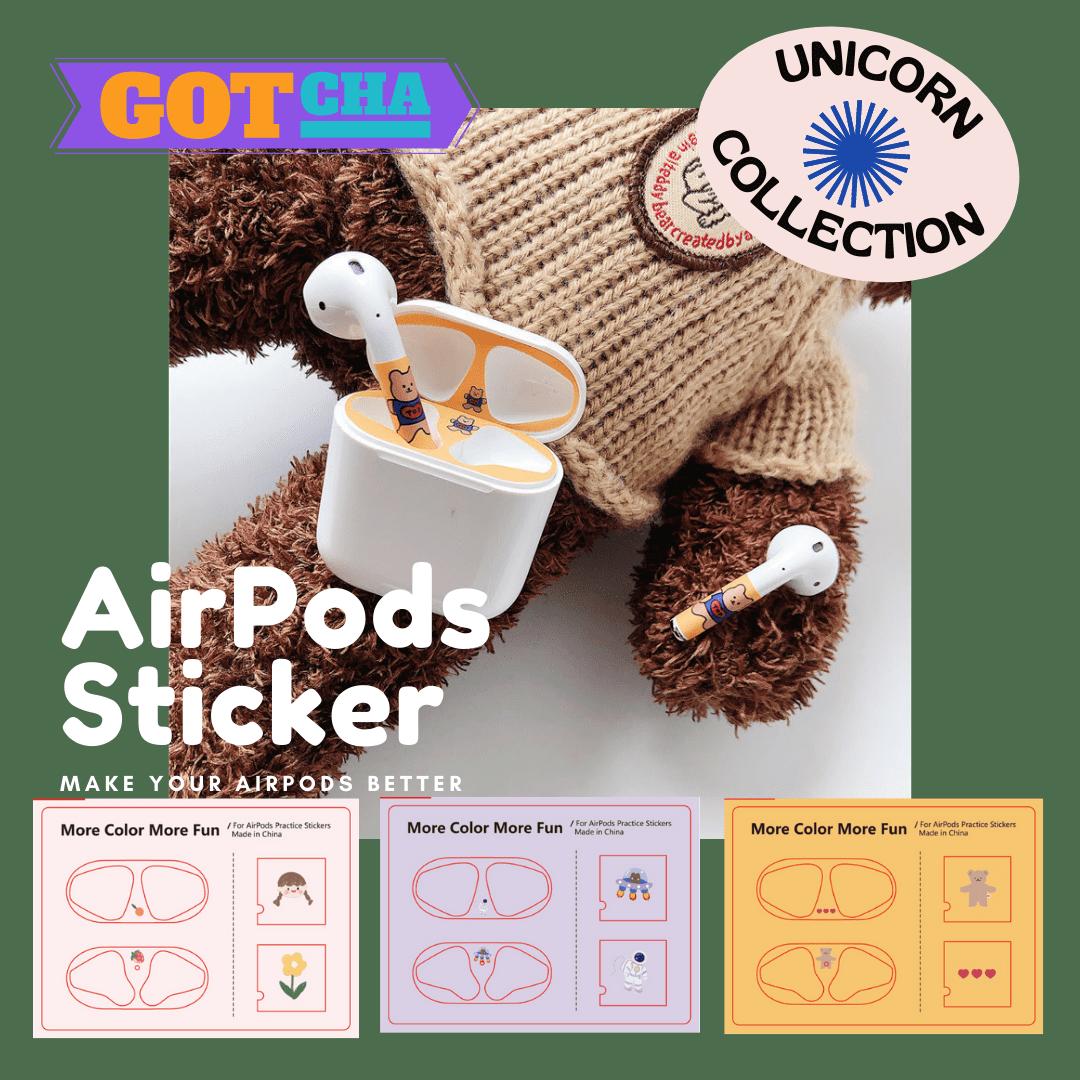 -多款-蘋果AirPods1/2代專用 小可愛插畫防塵貼 耳機盒貼紙 裝飾貼紙 保護貼【AP1100402】Unicorn