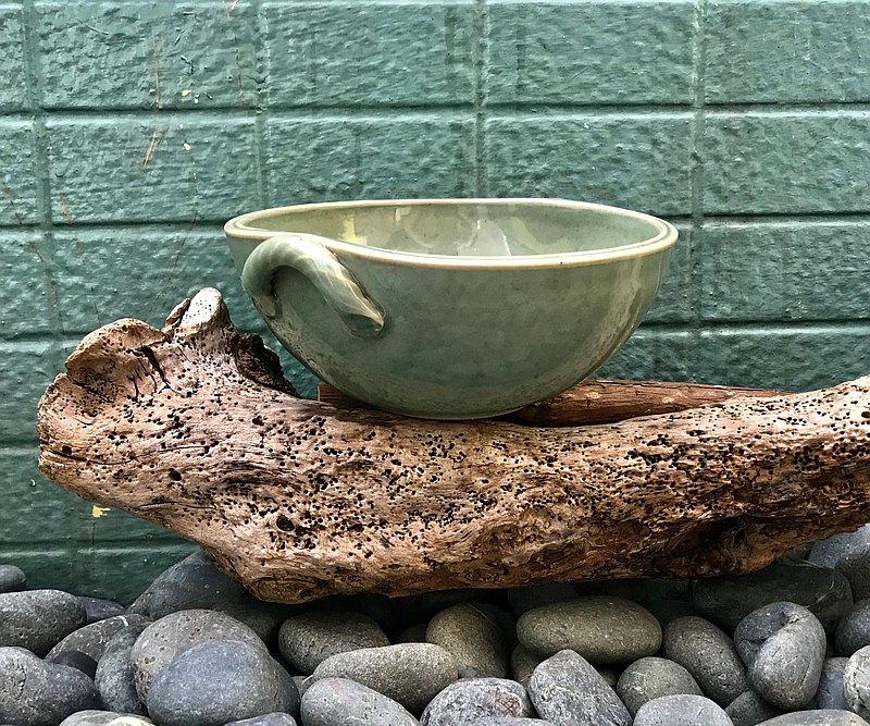 青黃玉古造型陶碗 青瓷釉還原燒法 餐碗 餐具 湯碗 手工茶碗