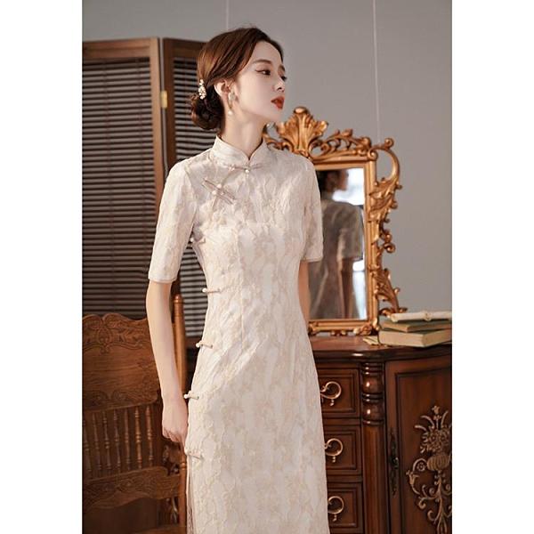 旗袍 旗袍民國少女氣質年輕款復古中長款改良版蕾絲連身裙日常可穿夏季 非凡小鋪