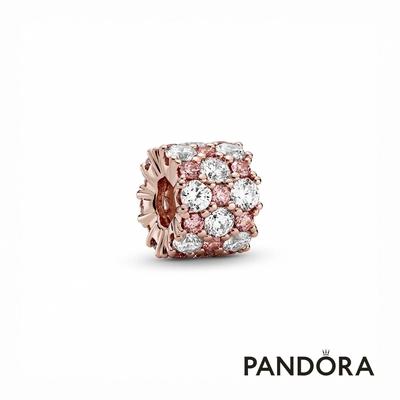 【Pandora官方直營】透明配粉紅璀璨串飾