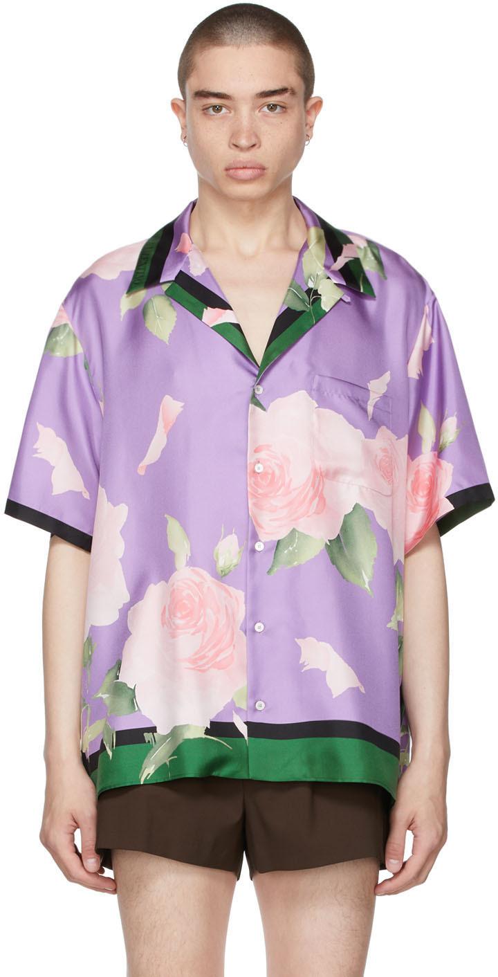 Valentino 紫色 Flying Flowers 真丝保龄球衬衫