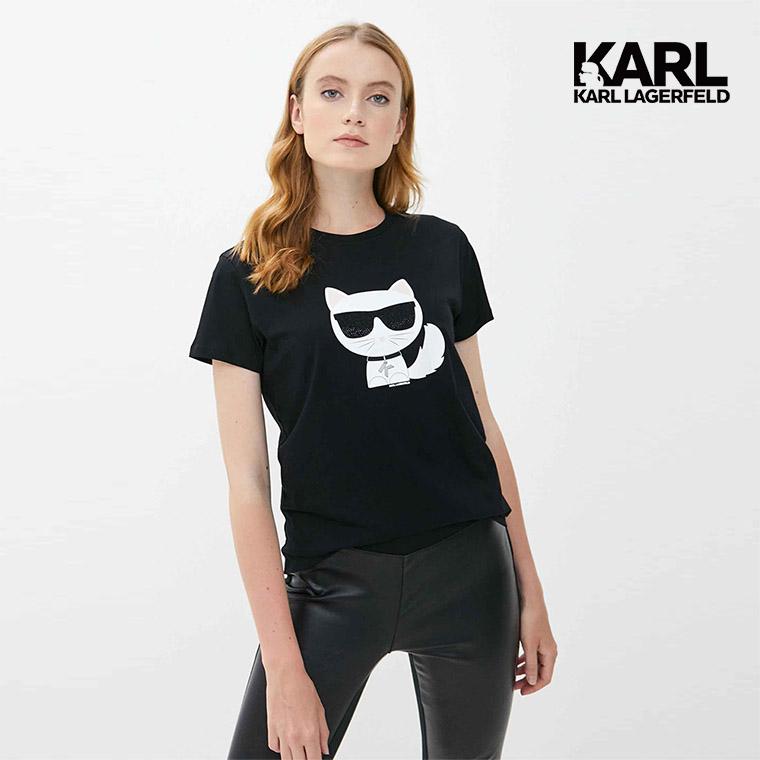 【KARL LAGERFELD】IKONIK Choupette T恤-黑 (原廠公司貨)