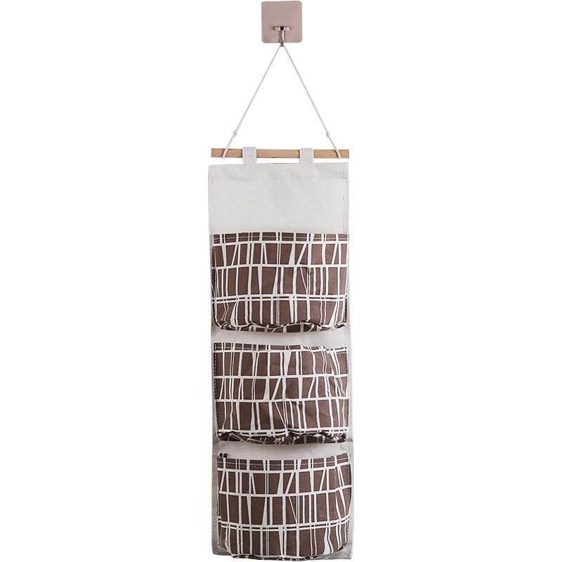 創意棉麻收納掛袋懸掛式多層掛兜收納袋布藝門后壁掛式雜物收納袋/可開超取