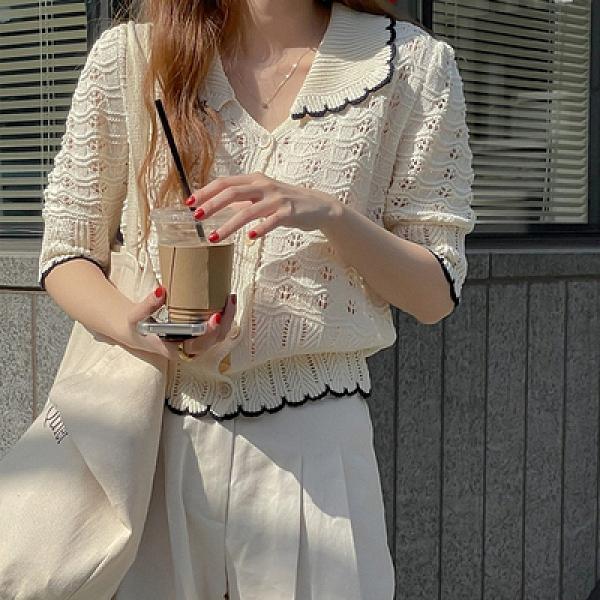 短袖針織上衣 T恤韓系復古鏤空細針織翻領短款中袖豎排扣上衣T619紅粉佳人