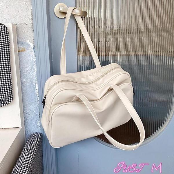 旅行袋大容量托特包女短途出差旅行側背大包包2021新款韓國行李包袋 JUST M