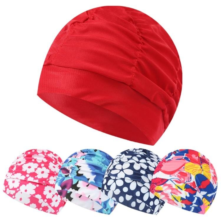 游泳布帽成人加大碼泳帽男士女士長發護耳寬松不勒頭褶皺印花泳帽   果果輕時尚