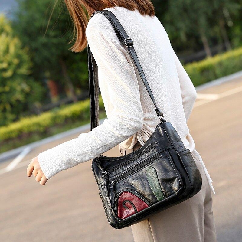 媽媽包 中老年人女包包2020新款大容量單肩斜背包女士背包中年軟皮媽媽包『XY21207』