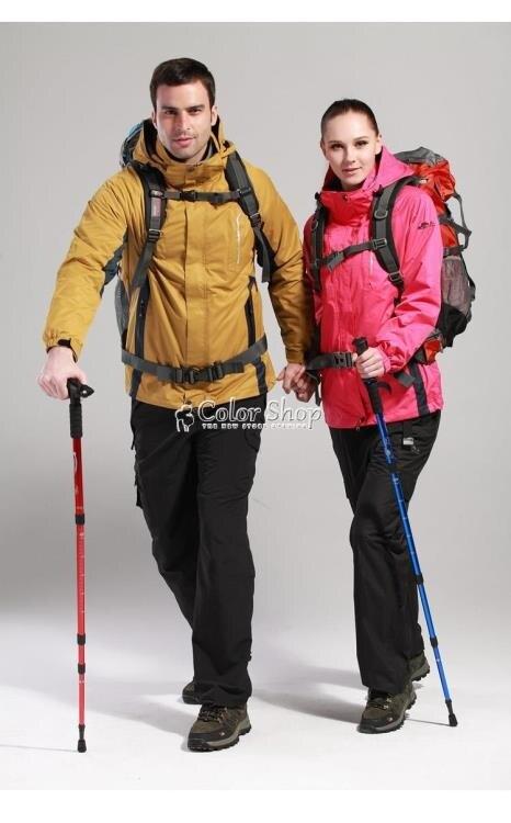 登山杖鋁合金徒步杖健走杖伸縮T柄旅行爬山手杖戶外裝備直柄  YYP 摩可美家