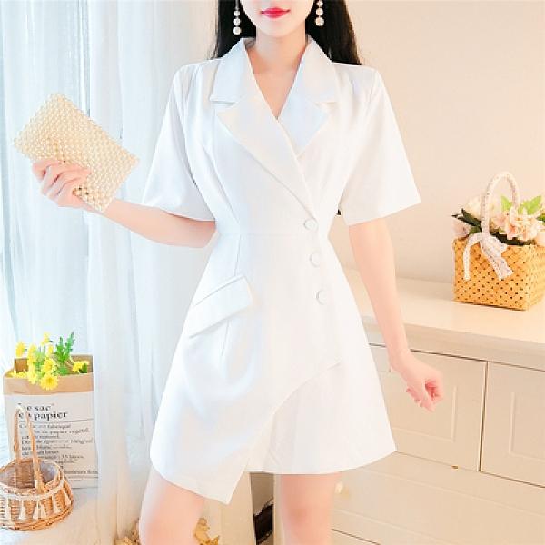 洋裝~4332#夏季女職業氣質西裝領單排扣連身裙TCF1-09胖妞衣櫥