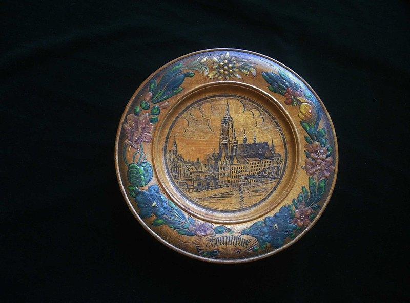 【老時光 OLD-TIME】早期歐洲木雕手工彩繪壁掛盤