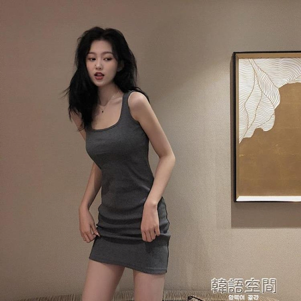春夏性感針織吊帶裙子2021新款收腰修身顯瘦氣質洋裝女包臀短裙連身裙