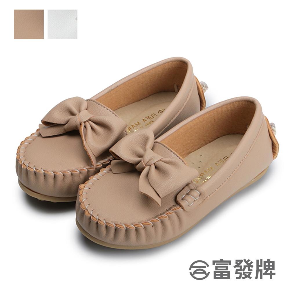 蝴蝶結柔軟兒童豆豆鞋-白/粉 33DL155