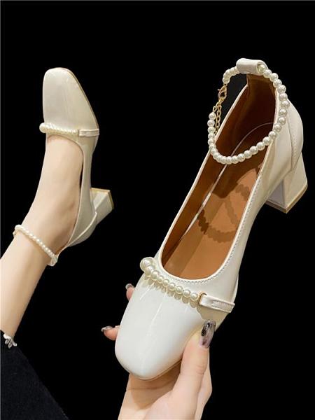 粗跟高跟鞋 單鞋女粗跟2021年夏新款法式復古婚鞋方頭瑪麗珍仙女珍珠高跟鞋女 小衣里